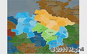 Political 3D Map of Niedersachsen, darken