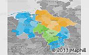 Political 3D Map of Niedersachsen, desaturated