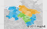 Political 3D Map of Niedersachsen, lighten, desaturated
