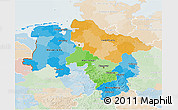 Political 3D Map of Niedersachsen, lighten