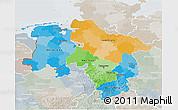 Political 3D Map of Niedersachsen, lighten, semi-desaturated