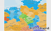 Political 3D Map of Niedersachsen, political shades outside