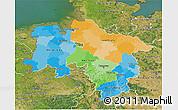 Political 3D Map of Niedersachsen, satellite outside