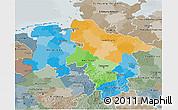 Political 3D Map of Niedersachsen, semi-desaturated