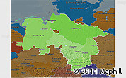 Political Shades 3D Map of Niedersachsen, darken