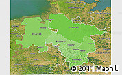 Political Shades 3D Map of Niedersachsen, satellite outside