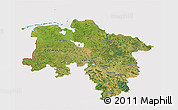 Satellite 3D Map of Niedersachsen, cropped outside