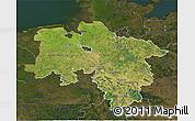 Satellite 3D Map of Niedersachsen, darken