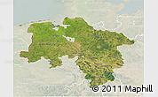 Satellite 3D Map of Niedersachsen, lighten