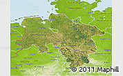 Satellite 3D Map of Niedersachsen, physical outside