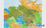 Satellite 3D Map of Niedersachsen, political outside