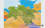 Satellite 3D Map of Niedersachsen, political shades outside