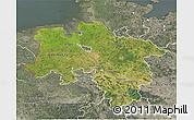 Satellite 3D Map of Niedersachsen, semi-desaturated