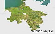 Satellite 3D Map of Niedersachsen, single color outside