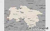Shaded Relief 3D Map of Niedersachsen, darken, desaturated