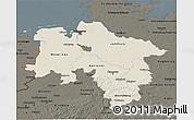Shaded Relief 3D Map of Niedersachsen, darken