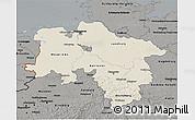 Shaded Relief 3D Map of Niedersachsen, darken, semi-desaturated