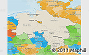 Shaded Relief 3D Map of Niedersachsen, political outside