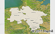 Shaded Relief 3D Map of Niedersachsen, satellite outside