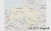 Shaded Relief 3D Map of Niedersachsen, semi-desaturated