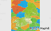 Physical 3D Map of Braunschweig, political outside