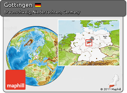 Map Of Germany Gottingen.Free Physical Location Map Of Gottingen Highlighted Country