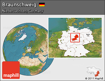 Free Satellite Location Map of Braunschweig highlighted country