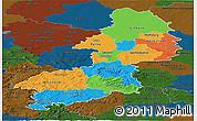 Political Panoramic Map of Braunschweig, darken