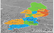 Political Panoramic Map of Braunschweig, desaturated