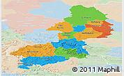 Political Panoramic Map of Braunschweig, lighten