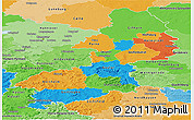 Political Panoramic Map of Braunschweig, political shades outside