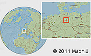 Savanna Style Location Map of Wolfenbüttel, hill shading