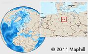 Shaded Relief Location Map of Wolfenbüttel