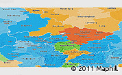 Political Panoramic Map of Hannover, political shades outside