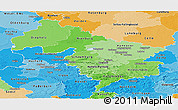 Political Shades Panoramic Map of Hannover