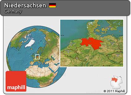 Satellite Location Map of Niedersachsen