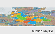 Political Panoramic Map of Lüneburg, semi-desaturated