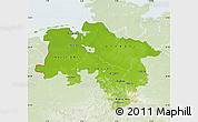 Physical Map of Niedersachsen, lighten