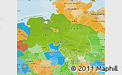 Physical Map of Niedersachsen, political outside