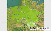 Physical Map of Niedersachsen, satellite outside