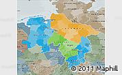 Political Map of Niedersachsen, semi-desaturated