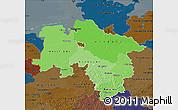 Political Shades Map of Niedersachsen, darken