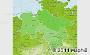 Political Shades Map of Niedersachsen, physical outside