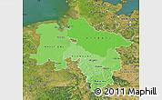 Political Shades Map of Niedersachsen, satellite outside