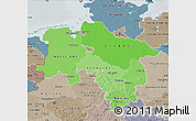 Political Shades Map of Niedersachsen, semi-desaturated