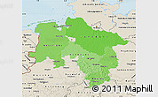 Political Shades Map of Niedersachsen, shaded relief outside