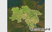 Satellite Map of Niedersachsen, darken
