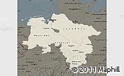 Shaded Relief Map of Niedersachsen, darken