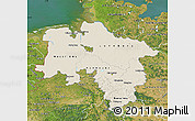 Shaded Relief Map of Niedersachsen, satellite outside