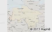 Shaded Relief Map of Niedersachsen, semi-desaturated